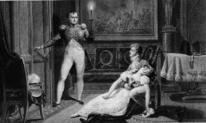 """I'll get the best lawyer!"" Wife Josephine faints after husband Napoleon tells her he is filing for divorce."